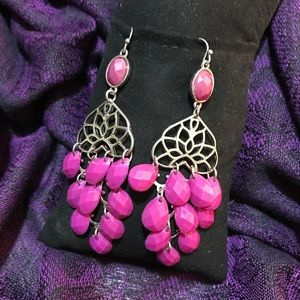 Pink Beaded Dangle earrings